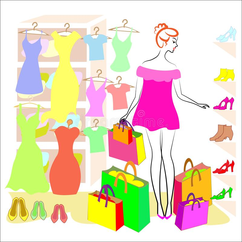 Profiel van een zoete dame Het meisje is bezig geweest met het winkelen In de opslag koopt hij kleren en schoenen, kleding, T-shi royalty-vrije illustratie