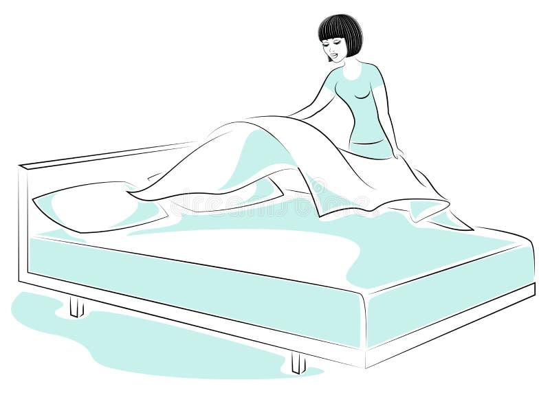 Profiel van een zoete dame Het meisje maakt het bed in de ruimte Een vrouw is een goede vrouw en een keurige huisvrouw Vector ill vector illustratie