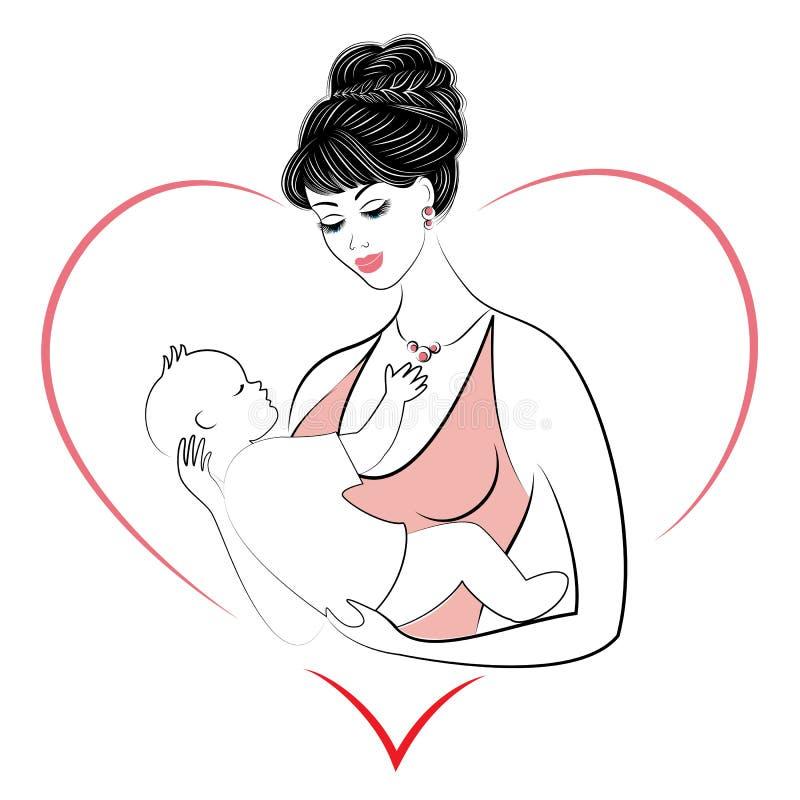 Profiel van een zoete dame Silhouet van het meisje, houdt zij de baby in haar wapens Een jonge en mooie vrouw Gelukkig moederscha stock illustratie