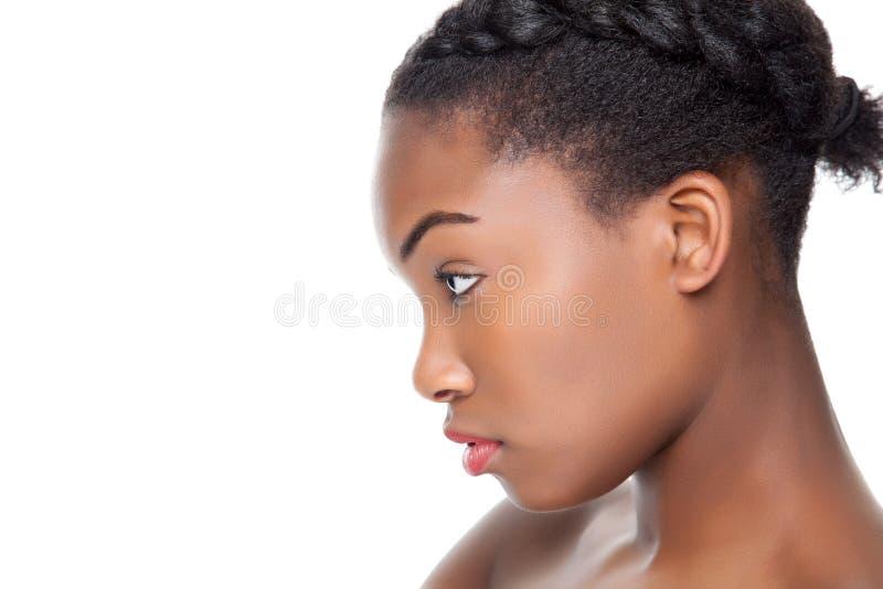 Profiel van een zwarte schoonheid stock fotografie