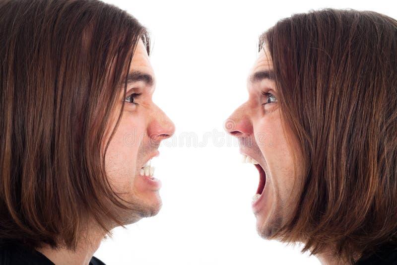 Profiel van het boze mensengezicht schreeuwen royalty-vrije stock foto's