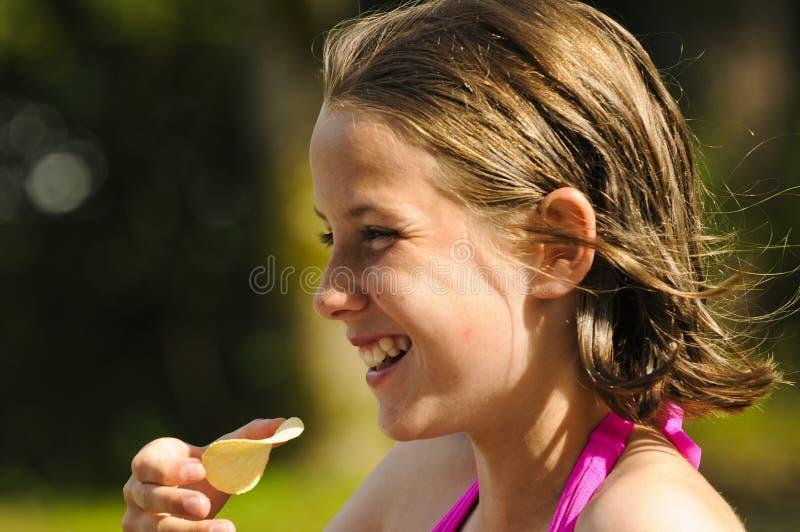Profiel van mooi meisje in openlucht royalty-vrije stock foto's