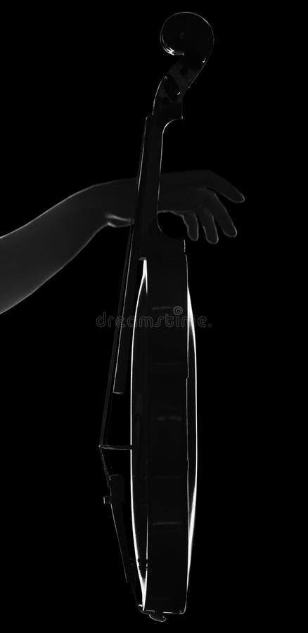 Profiel van viool ter beschikking van musicus op zwarte wordt geïsoleerd die stock afbeeldingen