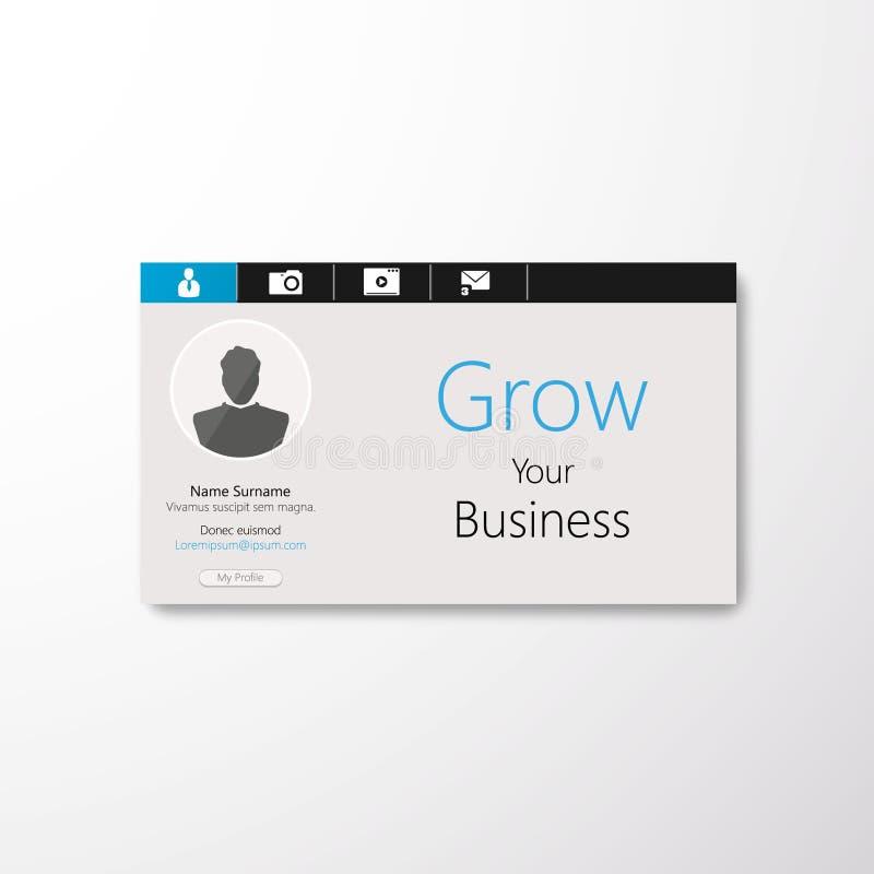 Profiel voor sociale media. Minimale toepassing voor Web of mobiele apparaten. royalty-vrije illustratie
