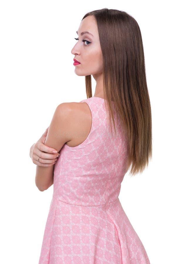 Profiel zijportret van mooie jonge vrouw stock foto