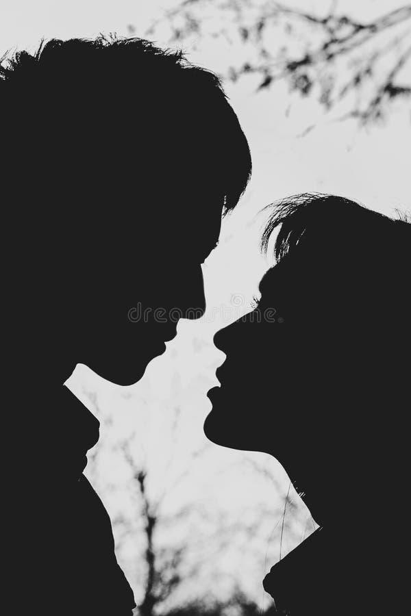 Profielen van romantisch paar die elkaar bekijken stock fotografie