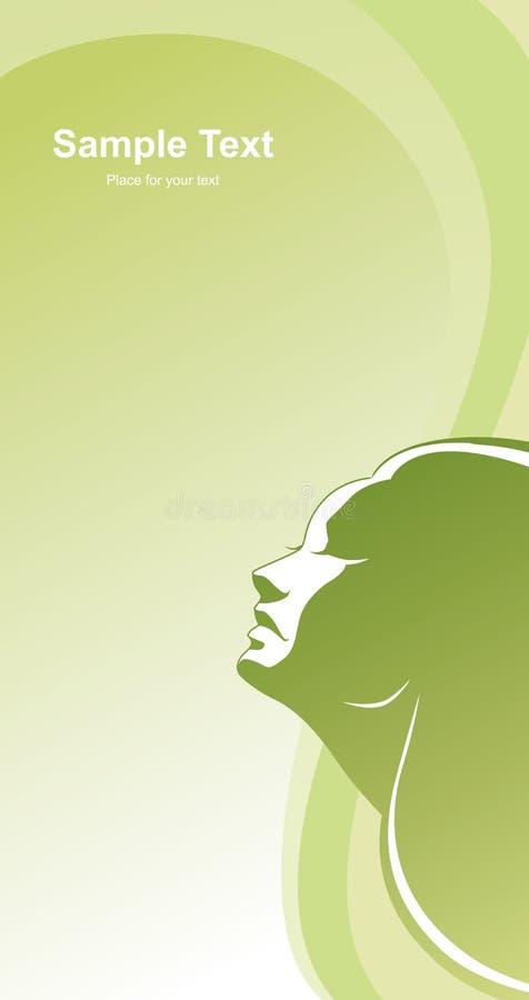 Profielmeisje op groene abstracte achtergrond royalty-vrije illustratie