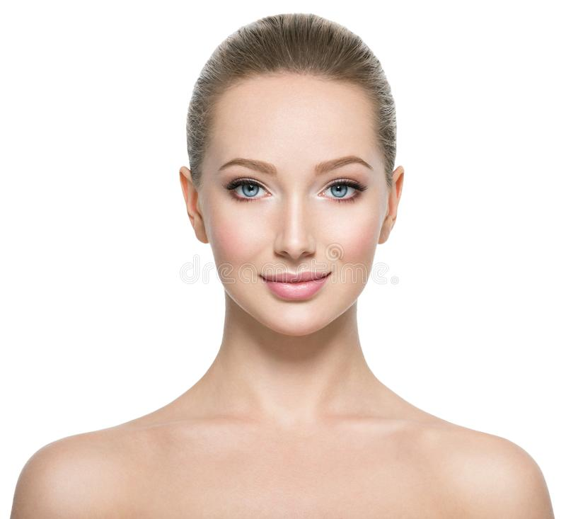 Profielportret van de mooie vrouw stock foto's