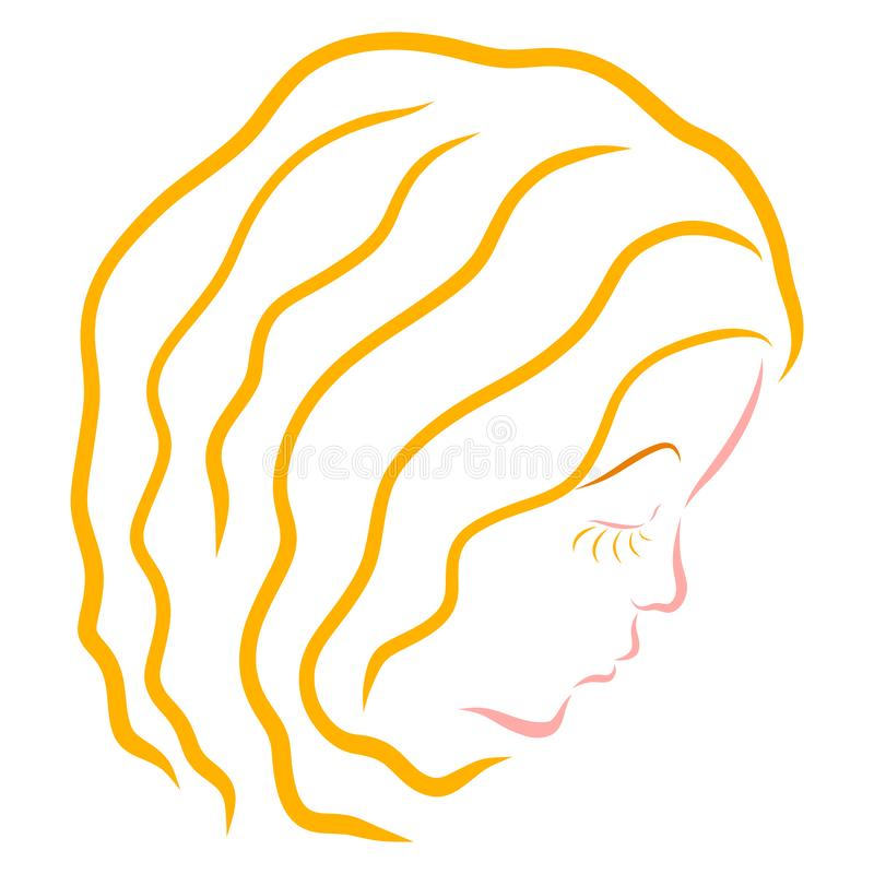 Profil ładna dziewczyna z falistym żółtym włosy royalty ilustracja