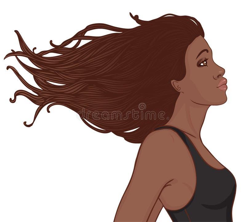 Profil amerykanin afrykańskiego pochodzenia ładna młoda kobieta ilustracja wektor