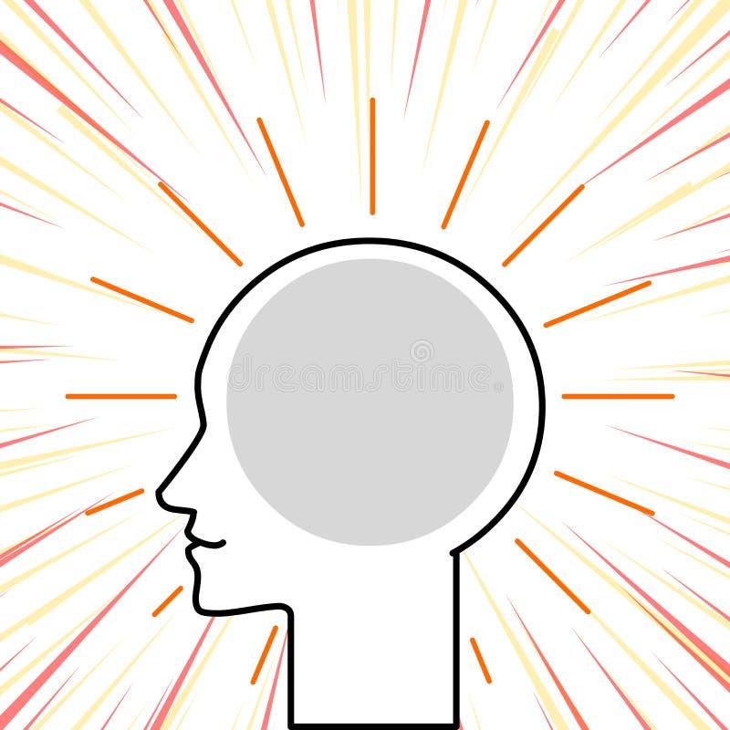 Profil-Ansicht des menschlichen Kopfes umgeben durch helle Strahlen mit Leerstelle, um Gedanken und Ideen einzubetten Entwurfs-Sc lizenzfreie abbildung