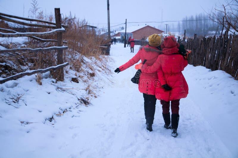 Profil arrière de deux filles dans la neige photographie stock