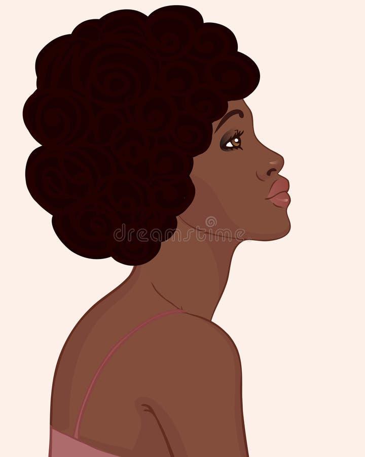 Profil av afrikansk amerikankvinnan med afro royaltyfri illustrationer