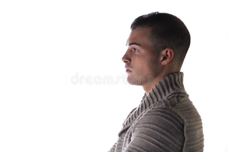 Profil av den attraktiva unga mannen med den gråa ärmlös tröja, förklädet eller tröjan royaltyfri fotografi