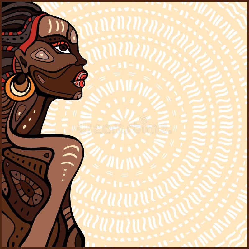 Profil av den härliga afrikanska kvinnan vektor illustrationer