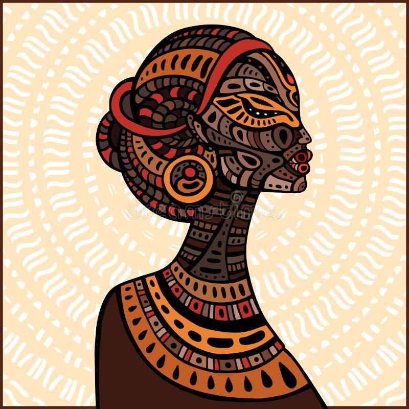 Profil av den härliga afrikanska kvinnan stock illustrationer