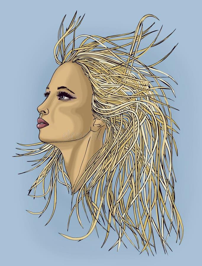 Profil av den härliga kvinnan med vinkande hår Popart stil stock illustrationer