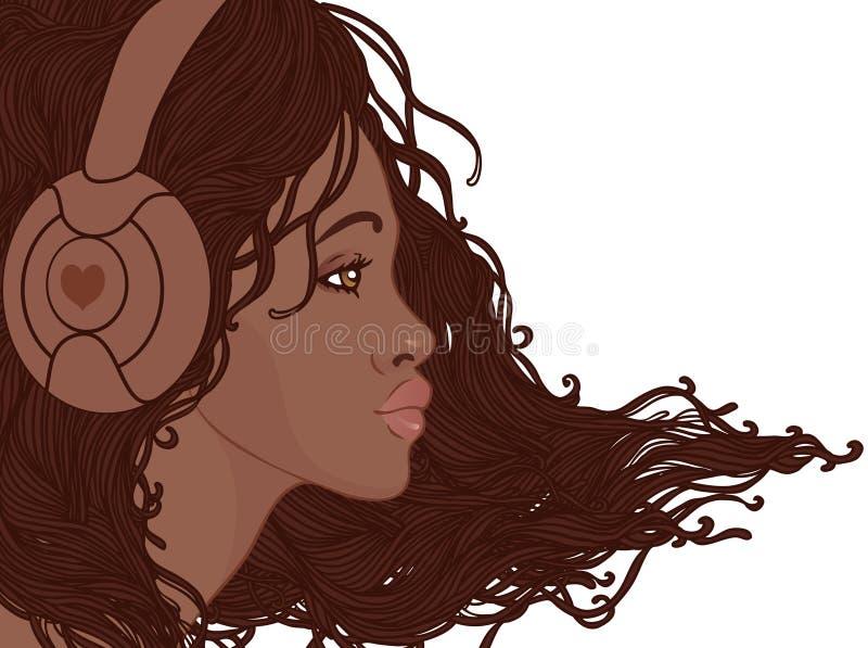 Profil av den nätta afrikansk amerikanflickan i hörlurar vektor illustrationer