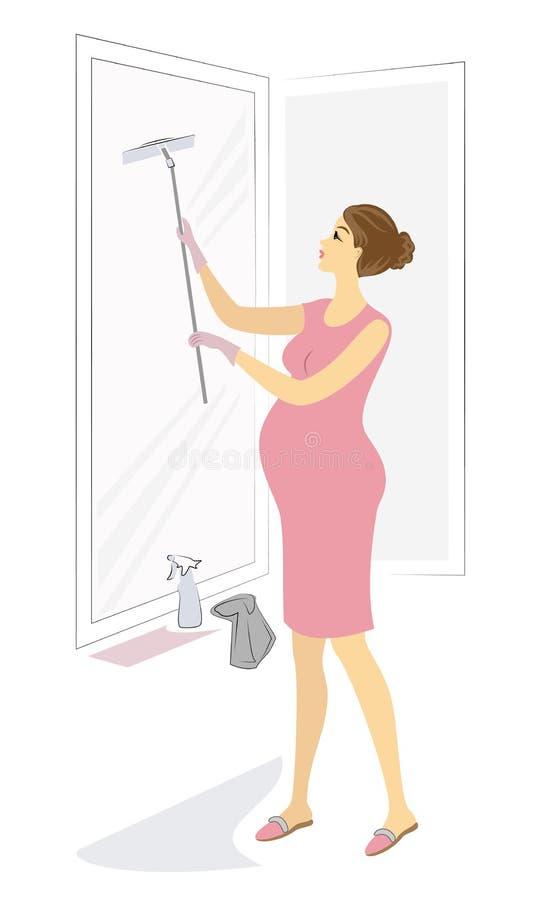 Profil av en gullig gravid dam flickan tv?ttar f?nstret Kvinnan ?r en bra fru och en proper hemmafru ocks? vektor f?r coreldrawil royaltyfri illustrationer