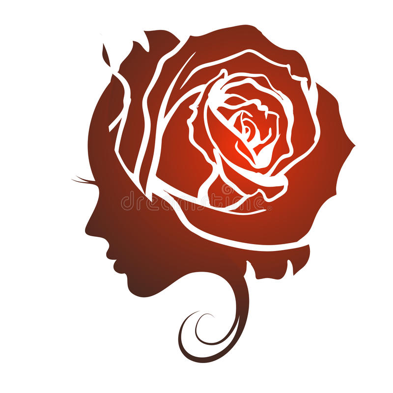 Profil av en härlig flicka med en ros vektor illustrationer
