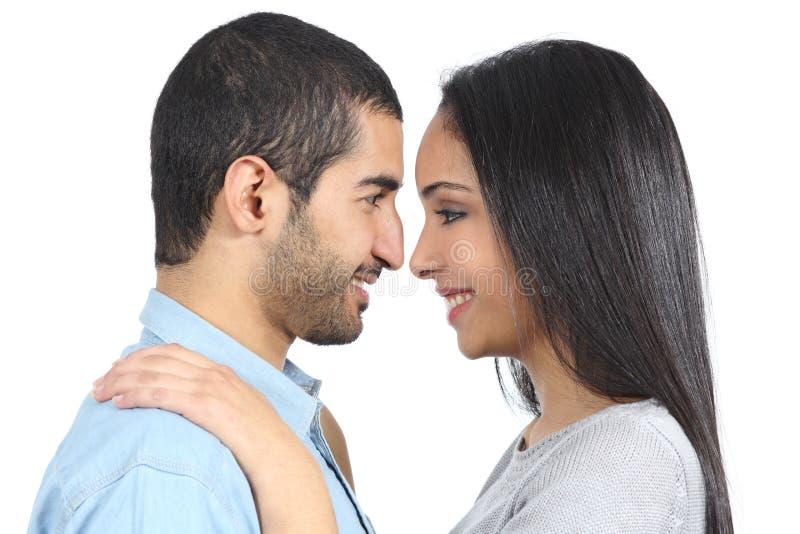 Profil av ett arabiskt par som ser sig royaltyfri bild