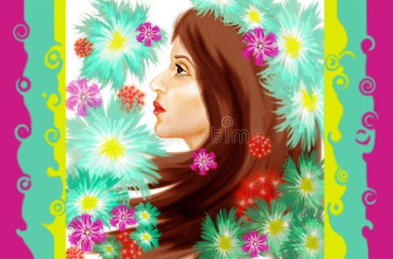 Profil av framsidan av en östlig flicka med långt brunt hår i lila, röda och blåa färger vektor illustrationer