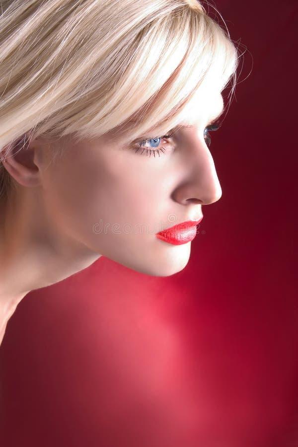 profil blondynkę zdjęcie royalty free