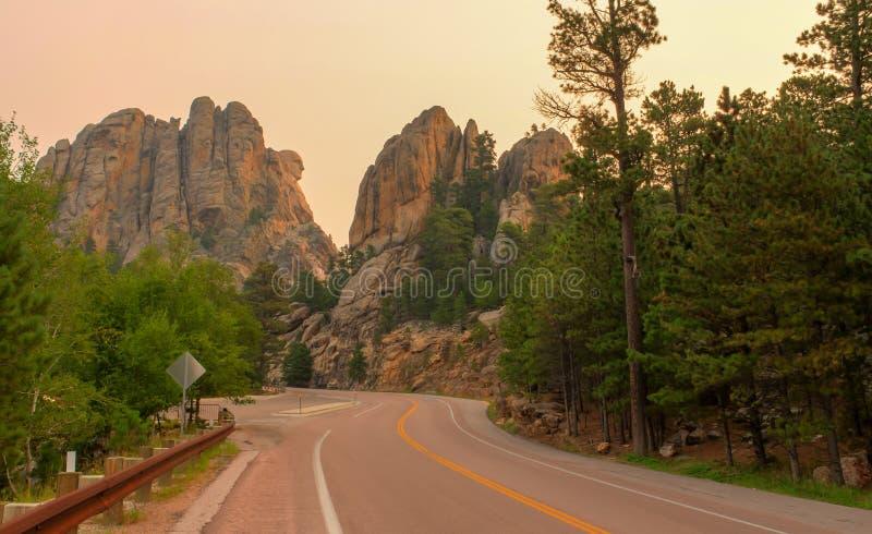 Profil commémoratif national du mont Rushmore Washington au lever de soleil images libres de droits