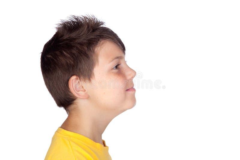 Profil d'enfant heureux image stock