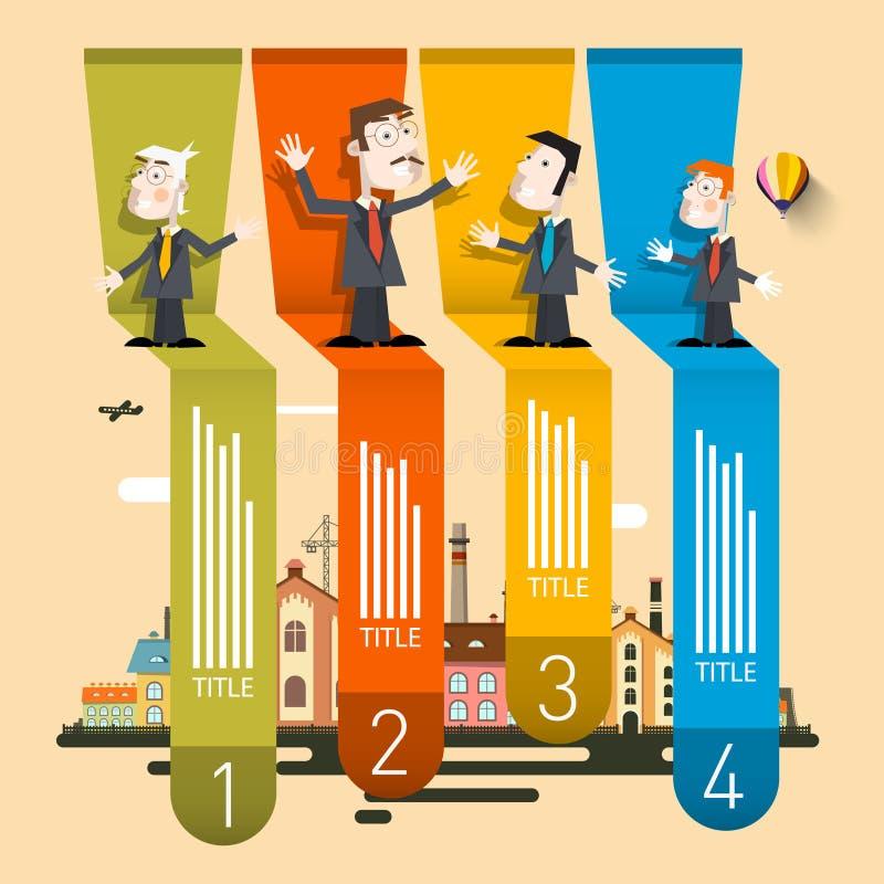 Profil d'entreprise Infographic Rétro vecteur Infographics de quatre étapes illustration stock