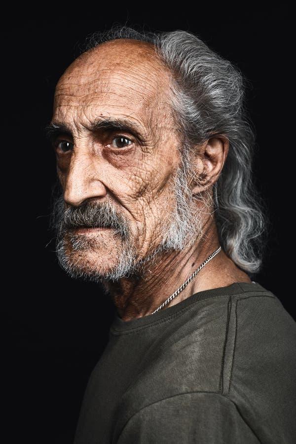 Profil d'homme supérieur avec les cheveux gris et audacieux avec l'expression sérieuse image stock