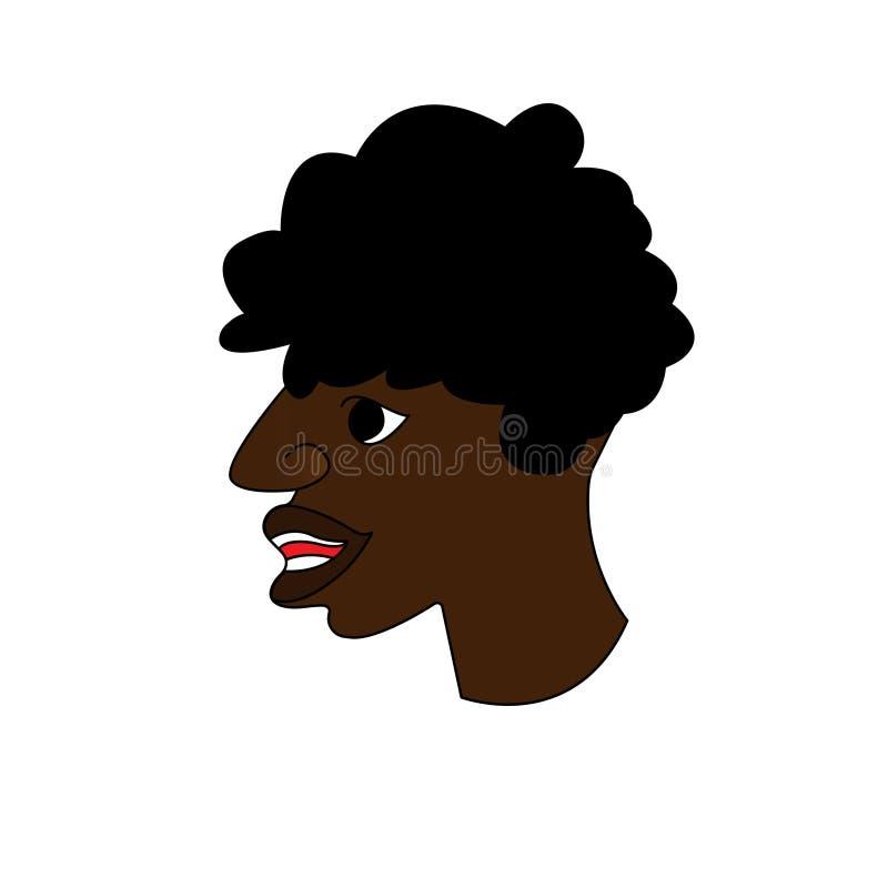 Profil d'un Afro-américain d'homme Portrait d'un type avatar Illustration plate de vecteur illustration libre de droits