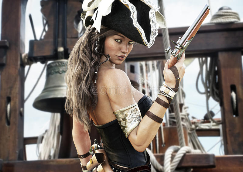Profil d'un capitaine féminin de pirate sexy se tenant sur la plate-forme de son bateau avec le pistolet à disposition illustration stock