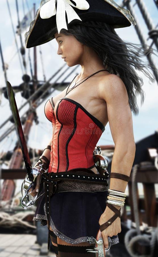 Profil d'un capitaine féminin de pirate sexy se tenant sur la plate-forme de son bateau Pistolet et épée à disposition prêts à dé illustration de vecteur