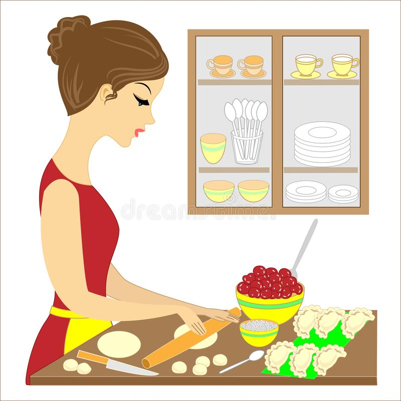 Profil d'une belle dame La fille prépare un repas délicieux pour la famille Elle fait des tartes de vareniki avec des cerises a illustration libre de droits