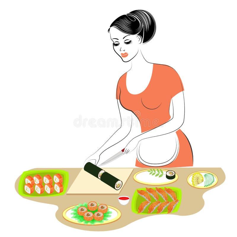 Profil d'une belle dame La fille pr?pare la nourriture Elle couvre une table des fruits de mer, fait des sushi, roule Traditions  illustration de vecteur