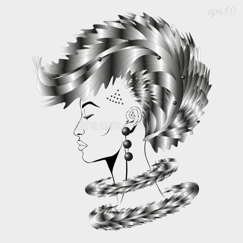 Profil d'une fille avec les cheveux métalliques illustration de vecteur