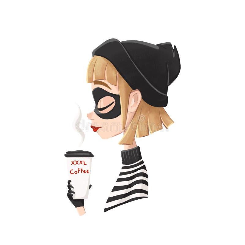 Profil d'une fille et d'un café de voleur illustration stock