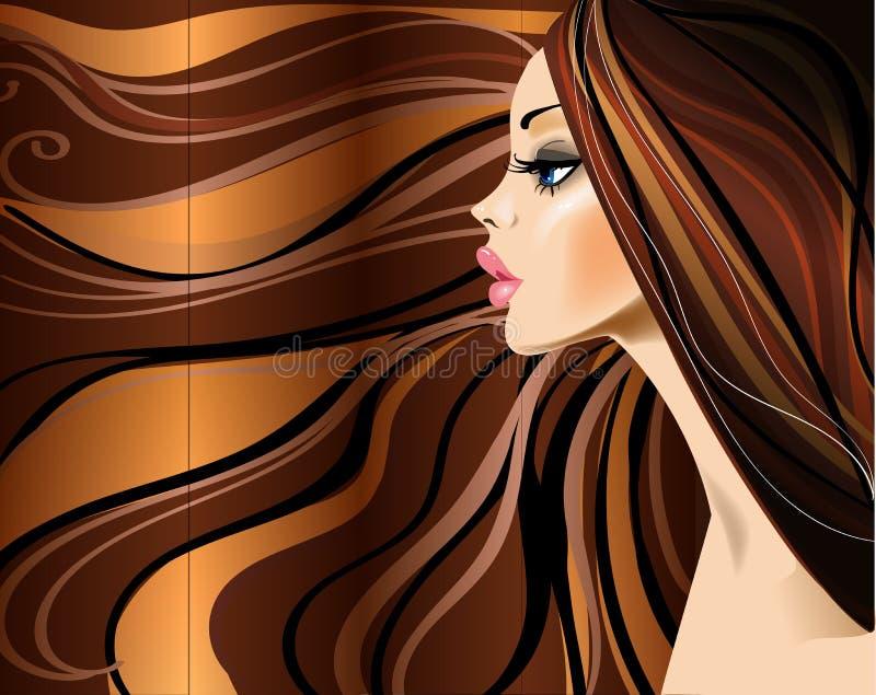 Profil de belle fille avec de longs poils