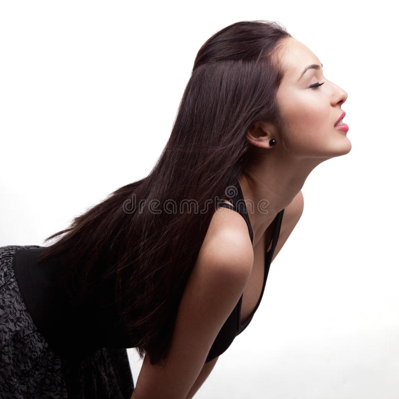 Profil de belle jeune femme sexy photos libres de droits