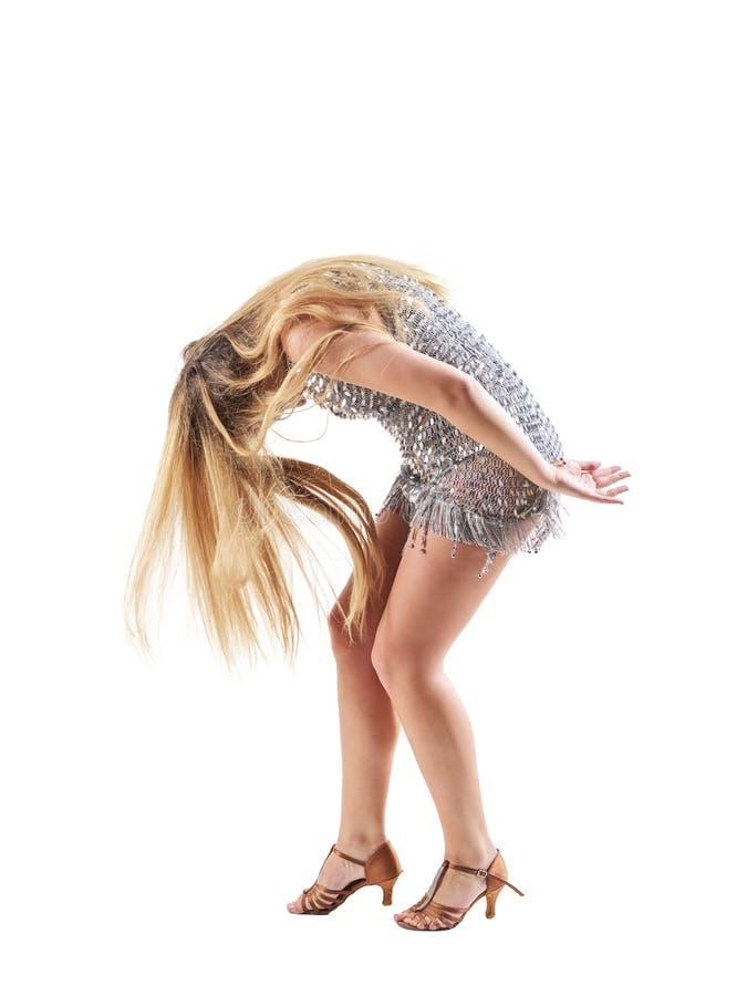 Profil de danseur professionnel dans le cintrage brillant de scintillement de robe après représentation photos libres de droits