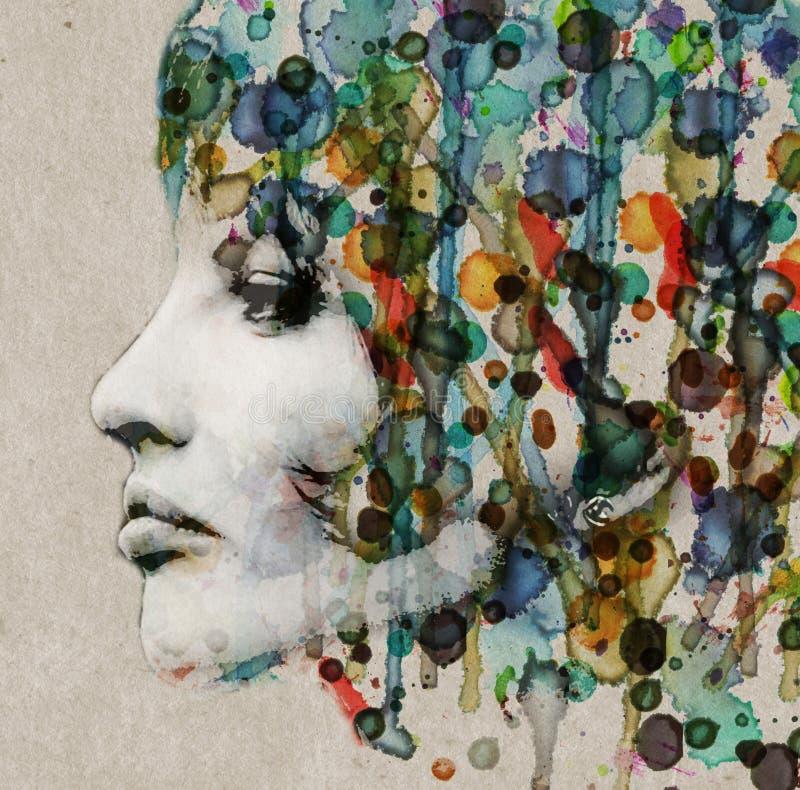 Profil de femelle d'aquarelle illustration libre de droits