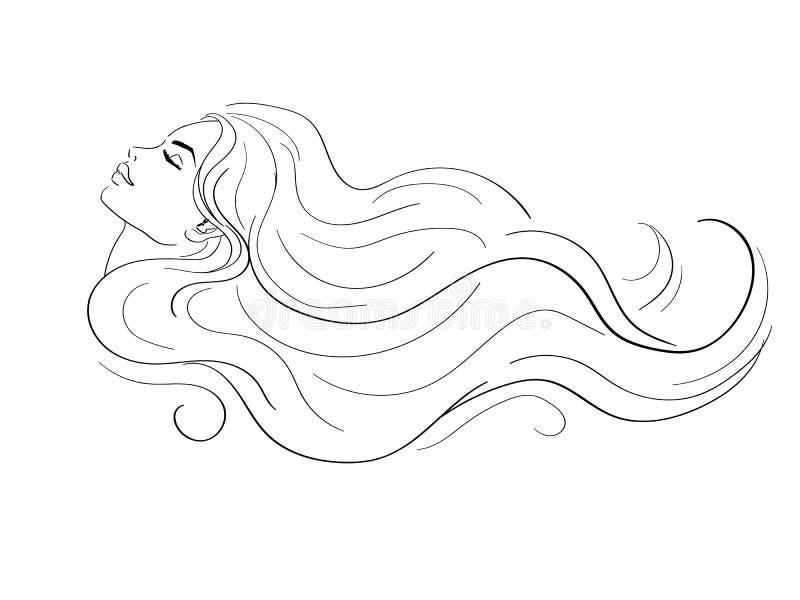 Profil de femme avec de longs cheveux illustration stock
