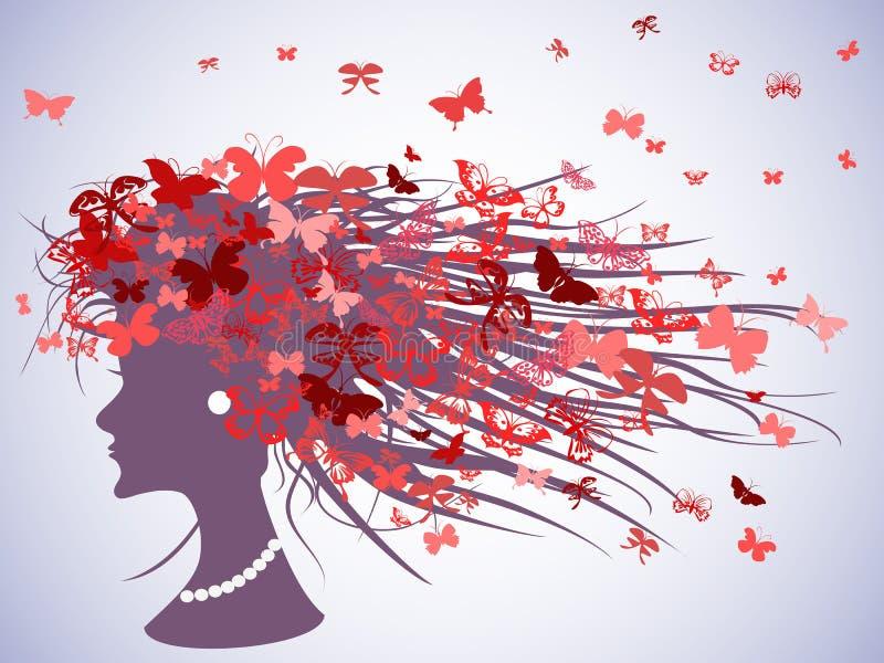 Profil de femme avec des cheveux de papillons illustration stock