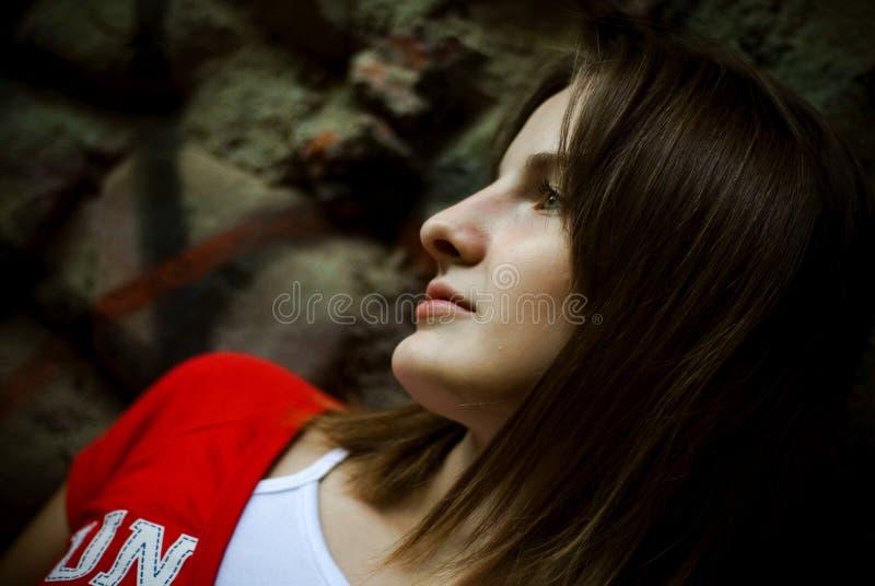 Profil de femme de Brunette   photos libres de droits