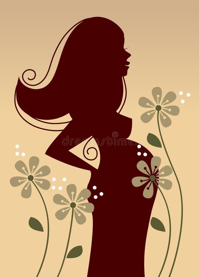 Profil de femme enceinte illustration libre de droits