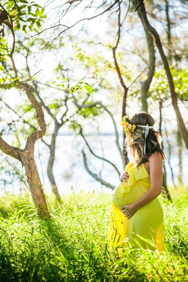 Profil de femme enceinte avec de longs cheveux dans la robe jaune dans images libres de droits