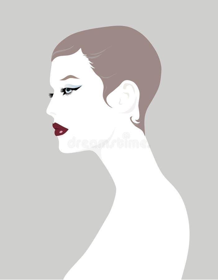 Profil de fille de cheveu court illustration stock