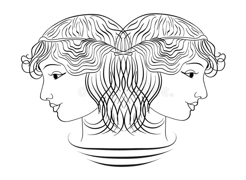 Profil de fille, vecteur illustration stock