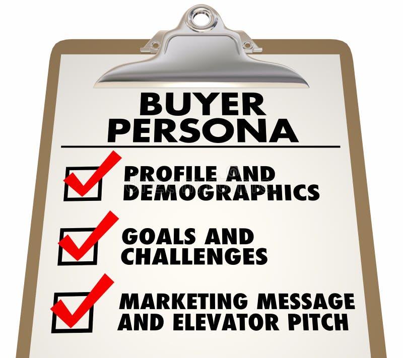 Profil de la clientèle de liste de contrôle de presse-papiers de Person d'acheteur illustration de vecteur